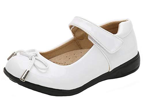 DADAWEN Girls School Shoes Ballerina Mary Jane Dress Flats White 8 UK Chil