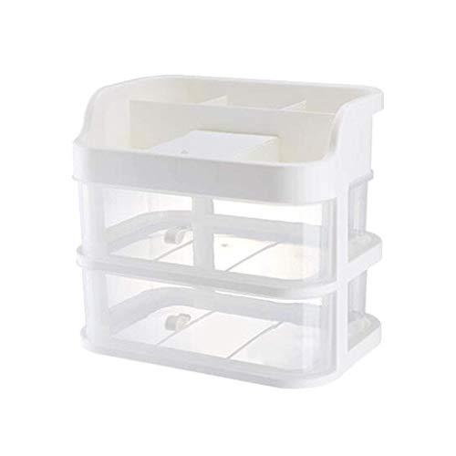 ZLININ Y-longhair Estante de baño estante de baño, 2 cajones tipo cajón de escritorio, caja de almacenamiento cosmético, plástico multifuncional transparente