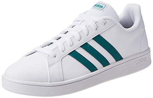 Adidas Tenis Grand Court Base EE7905 para Hombre, Color Blanco/Franjas Verdes, Talla 5.5 Mex