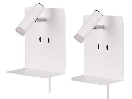 Juego de 2 lámparas LED de pared en blanco mate con luz de lectura giratoria, puerto de carga USB y estante, ideal junto a la cama