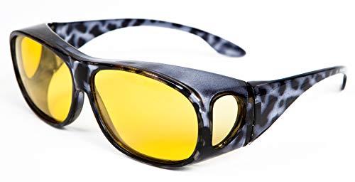 Opticaid Night Driving Bril Over Bril Fit Overs te dragen over een voorgeschreven bril Gepolariseerde Anti Glare Amber Categorie 1 Remaldi