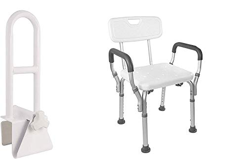 Vaunn Medical Bathtub Safety Rail Grab Bar and Shower Chair with Arms and Back Bundle