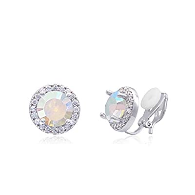 YOQUCOL 8mm AB Color Cubic Zirconia Crystal Clip On Earrings Round Non Pierced Stud For Women Girls