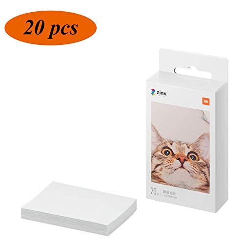 Premium Zink Papel Fotografico,para Xiaomi Mijia Impresora Móvil,Papel Fotográfico Adhesivo,Impresión Sin Tinta,AR Fotos,5 x 7.6 cm,313 x 400 ppp,para Viaje,Cenas,Fiestas,Regalos(Paquete de 20 Hojas)