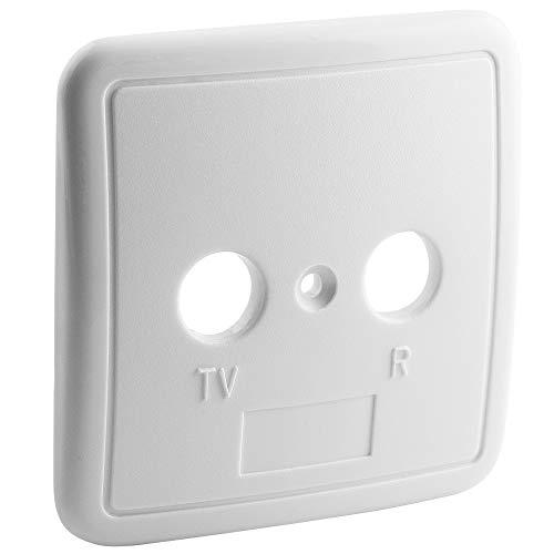 BestPlug Universal Deckel Abdeckung für Antennen-Dosen Durchgangsdosen Enddosen mit 2 Löcher, Weiss