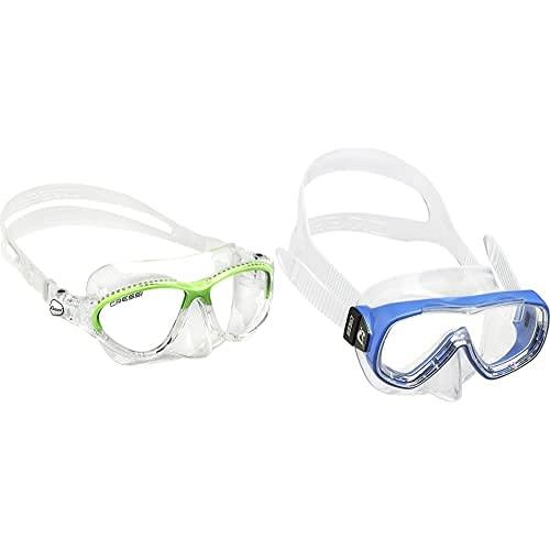 Cressi Kids Moon, Gafas De Snorkel Buceo para Niños, Verde, 7-15 Años + Piumetta Máscara, Niños, Azul, 3-7 Años