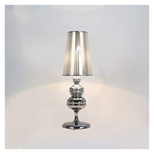JSJJARF Lámpara de Mesa Oro Blanco Negro Mesa Moderna de luz LED Lámpara de cabecera de la Sala de Bodas artefacto de iluminación (Emitting Color : 2, Size : Chrome)