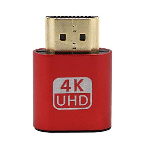 CNmuca Adaptador de monitor virtual VGA durável com design requintado, compatível com HDMI 1.4 DDC EDID Emulador de monitor de conector fictício Play rosa