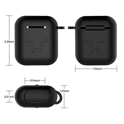 Case for AirPods Case Cover Skins, iKNOWTECH 3in1 AirPods Accessories Set Protective Silicone Cover & Skin for Apple AirPods Charging Case with Keychain/Anti-Loss Strap for Apple AirPods 1 & 2 (Black)