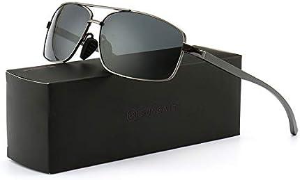 SUNGAIT lentes de sol polarizados rectangulares livianos con protección 100% contra rayos UV, L