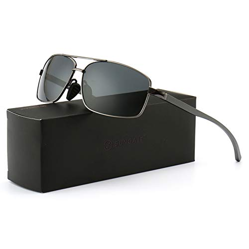 SUNGAIT Ultra Lightweight Rectangular Polarized Sunglasses UV400 Protection (Gunmetal Frame Gray...