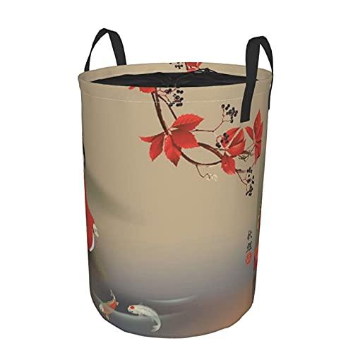 Cesto de ropa sucia plegable impermeable redondo,pez koi,alimentación de geishas,bestia sagrada,otoño,cultura asiática,vibraciones del este,oriental,con,21.6'X16.5'