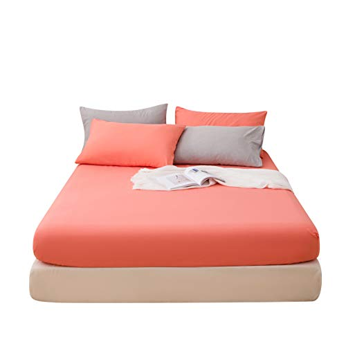 LS Fitted Bottom Sheet Only Premium Brushed Microfiber Ultra-Soft Fade Resistant Deep Pocket Queen Coral