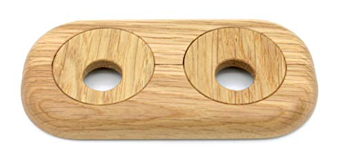 Doppel-Rosette für Heizungsrohre, Rohrabstand variabel, Echtholz: Ahorn, Buche, Eiche, Nuss, Abdeckung, Heizkörper, 15mm, 19mm, 22mm, Holz, Parkett, Holzrosette (15mm, Eiche)