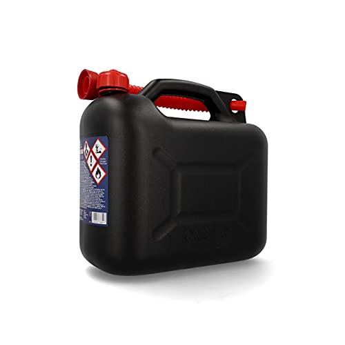 Cartrend Benzinkanister Kunststoff Kanister mit Ausgießer und UN-Zulassung, für alle Kraftstoffarten, 10 Liter