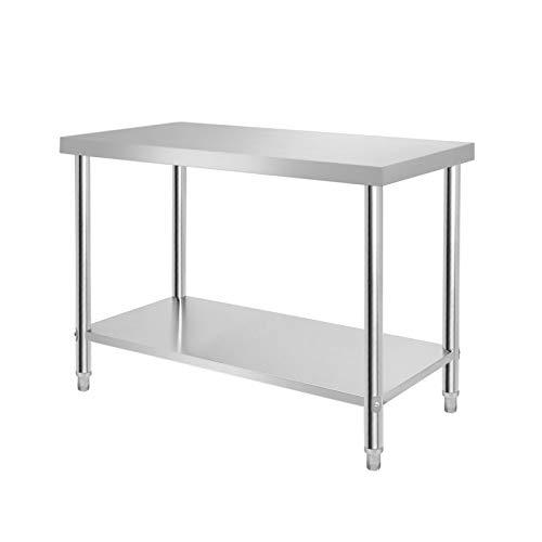 Aufun - Mesa de trabajo de acero inoxidable, mesa de cocina, altura regulable, mesa de trabajo de acero inoxidable para cocina, bar, restaurante, color plateado 🔥