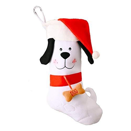 DUO ER Bolsa de Navidad Medias Huesos de Perro Decoración Chimenea Regalo del árbol de Navidad Ornamento Colgante Colgante de la celebración de días (Color : White)