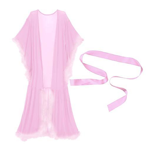 iiniim Morgenmantel Langarm Kimono Damen Nachthemd Nachtwäsche Pyjama Feder Bademantel Sexy Brautdusche Nachtkleid mit Gürtel Lavendel Rosa Einheitsgröße