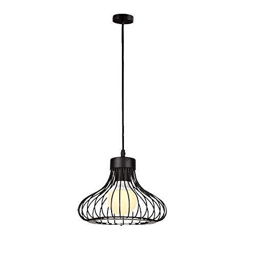 CSDM.AI Moderno Vintage Industrial Araña Retro, Lámpara Colgante De Metal La Jaula Loft Luz De Techo Jaula para Pasillo Sala De Estar 1X E27 Base (Negro)