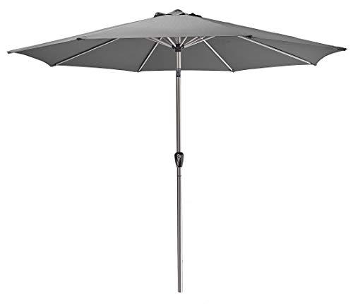 AMARE Luxus 270 x 255 cm (B x H) Aluminium Schaft 48 mm poliert mit transparenter Schutzlackierung, Dunkelgrau Sonnenschirm, 300 cm rund
