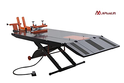 APlusLift MT1500X 1,500LB Air Operated 48' Width ATV Motorcycle Lift Table with Side Extensions (Free Service Jack, Free Home Delivery) / 24 Months Parts Warranty