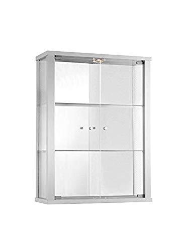 K-Möbel Glasvitrine in Weiss (80x60x25 cm) mit 2 höhenverstellbaren Glasböden aus ESG, LED und Spiegel; beleuchtet; perfekt für Sammler;