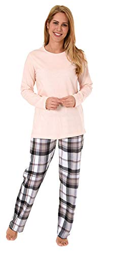 NORMANN-Wäschefabrik Damen Flanell Pyjama Mix & Match Hose Flanell, Top Single Jersey - auch in Übergrössen, Farbe:rosa, Größe2:40/42