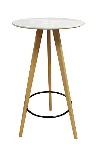 Meubletmoi Table Haute Ronde 60 cm Bois Bicolore Naturel/Blanc - Table de Bar/Mange-Debout - Design scandinave - STOOLY