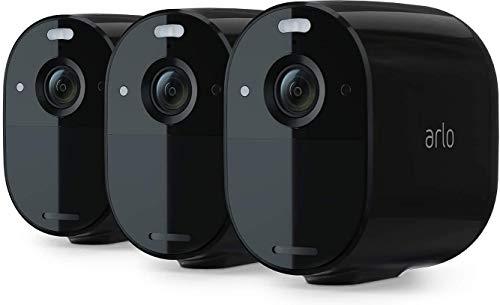 Arlo Essential Black - Pack de 3 Caméras de surveillance Wifi Sans fils. Jour/Nuit, Etanche IP65, Intérieur/Extérieur, Batterie 6 mois (VMC2330B)
