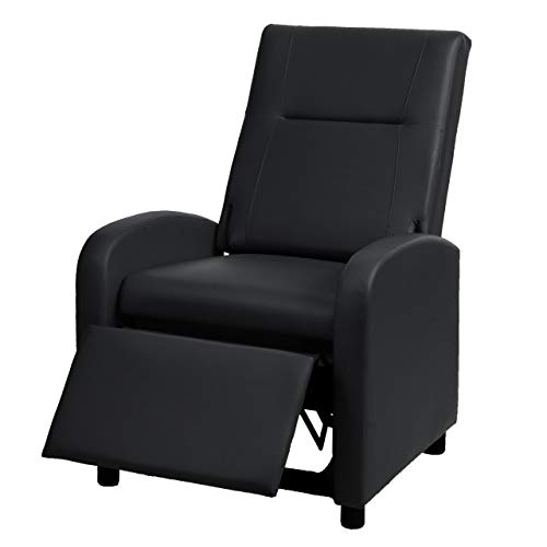 Mendler Fernsehsessel HWC-H18, Relaxsessel Liege Sessel, Kunstleder klappbar 99x70x75cm ~ schwarz