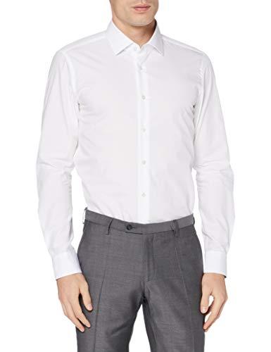 Strellson Premium Herren 11 Santos-C 10000206 Businesshemd, Weiß (White 100), Kragenweite: 42 cm