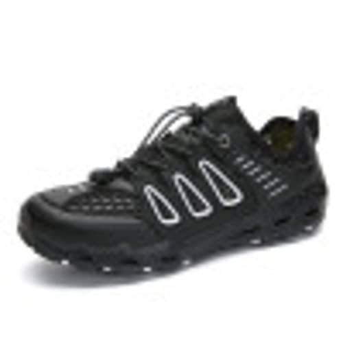 Nuevos zapatos de los hombres punta redonda color sólido senderismo al aire libre zapatos de vadeo senderismo zapatos