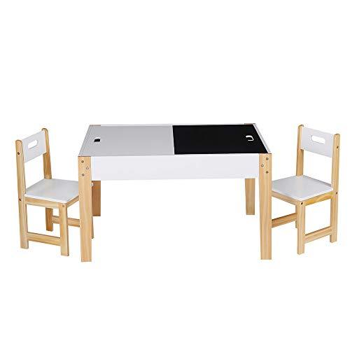 Decopatent Kindertisch mit 2 Holzstühlen - 1 Tisch und 2 Kinderstühle - viel Stauraum - Maltisch, Spieltisch, Basteltisch, Zeichentisch, Sitzgruppen Set