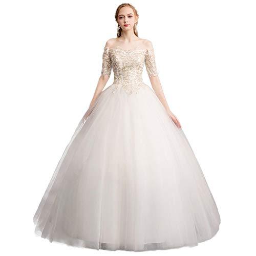 LWLEI Word Shoulder Wedding Dress Women Lace Flower Embroidery Elegant Pretty Gown (Color : White, Size : XL)