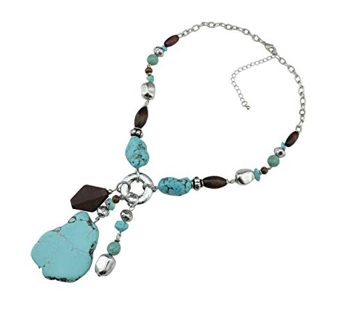 Bocar Personalized Layered Strands Turquoise Statement Chunky Necklace for Women Gifts(NK-10115) (Blue)