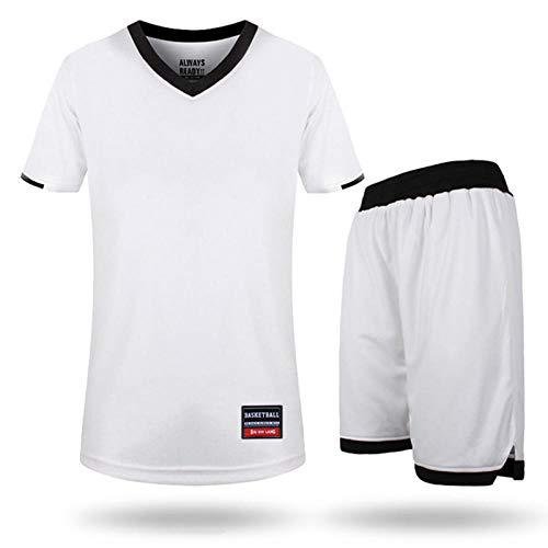ZR1LZ Trainingsanzug Sportlaufanzug,Sportswear-Anzug für Herren, gestreifter Sportswear-Anzug, kurzärmliges Sommeroberteil und Shorts-White_M