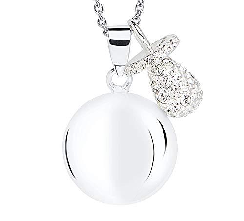 MAMIJUX Chiama angeli con ciuccio con cristalli (Bianco)