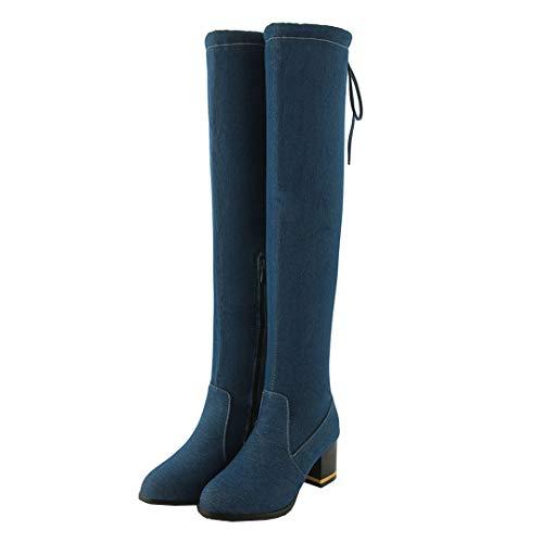 Dearney Damen Overknee Stiefel mit Schnürung Blockabsatz Boots High Heels Stretch Stiefel Jeans Denim Damenschuhe