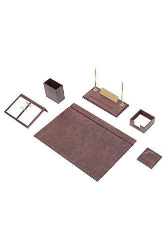 Calme-D - Juego de 8 protectores de escritorio de 49 cm x 34 cm, de piel sintética, en 10 colores a elegir, color: marrón