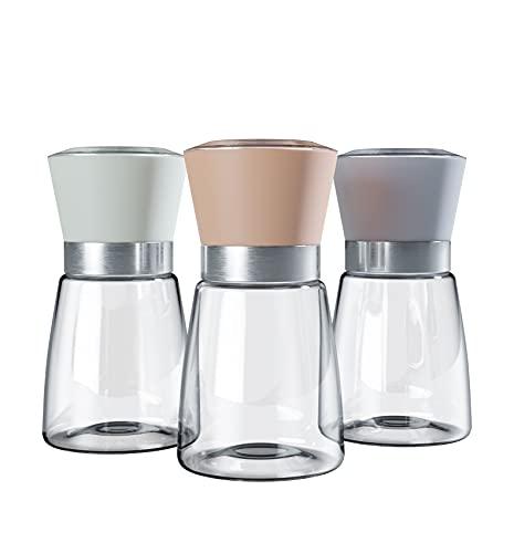 vendify® Premium Gewürzmühle mit Keramik-Mahlwerk 3er Set aus Glas & Edelstahl einstellbar grob bis fein - Pfeffermühle & Salzmühle Edel Manuell (Leer)