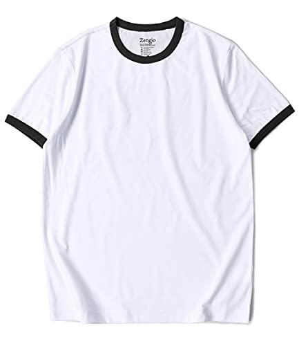 Ringer Tee Men(XL, White/Black)
