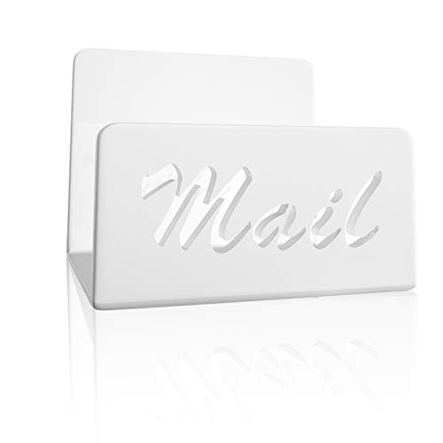 Mail Organizer Countertop - wishacc Vertical Acrylic Letter Holder and Desktop Bill Sorter Bin for Any Home Office or Kitchen Counter(White)