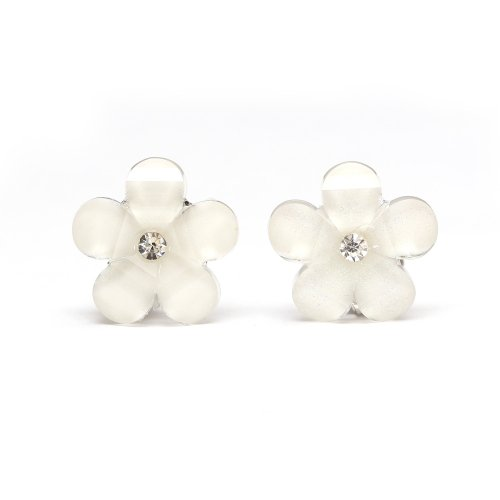 Idin Pendientes de clip - Flor blanca y strass (aprox. 16 x 16 mm)