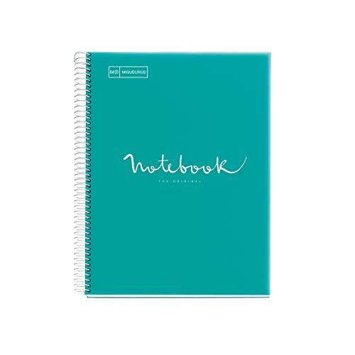 Miquelrius - Cuaderno Notebook Emotions - 1 franja de color, A4 Plástico, 80 Hojas cuadriculadas 5mm, Papel 90g, 4 Taladros, Cubierta de Polipropileno Translúcido, Color Turquesa