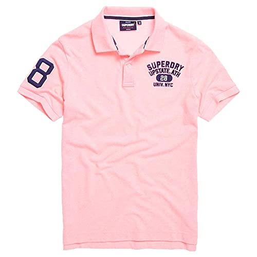 Superdry Herren Classic SUPERSTATE S/S Polo Poloshirt, Rosa (Bright Blast Pink ZH9), XXL