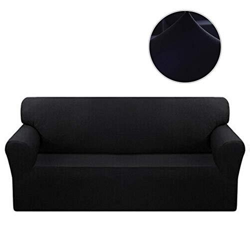 XHNXHN Funda de sofá elástica, Funda seccional para sofá de 1, 2, 3 y 4 plazas, Protector de Funda de sofá de Tela de poliéster con Fondo elástico para niños, Mascotas, Color Negro, 74-90 Pulgadas