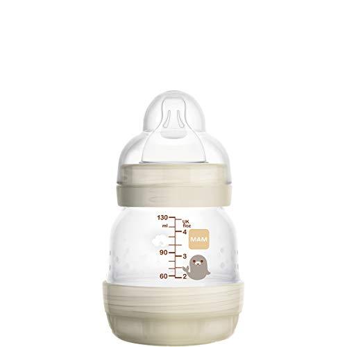 MAM Easy Start Selbststerilisierende Anti-Kolik-Flasche (1 x 130 ml), Babyflasche mit langsamem Durchfluss Silikonsauger Neugeborenes Baby Fütterungszubehör Weiß
