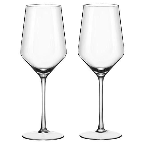 ADMY Weinglas, Weißwein Glas 2er Set, 410ml Rotweinglas Weißweinglas aus Kristallglas, Transparentes Sektglas Sektkelch, Universalglas Weinkelch Kelchglas als Geschenk für Weihnachten Geburtstag