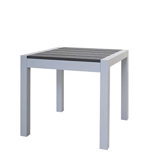 Chicreat Hocker aus Aluminium mit Polywood-Oberfläche und Kissen, Silber und Schwarz, 50 x 50 x 45cm