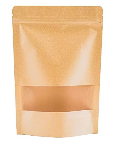 50Pcs Reutilizables Bolsas de Papel Kraft con Cierre Bolsas de Papel de Pie con Ventana de Visualización Utilizadas para Envasar Frutos Secos Té Semillas o Sándwiches (14 * 20 * 5cm)